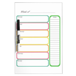 Colorful Weekly Planner Dry-Erase Whiteboard