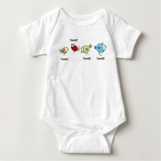 Colorful Whimsical Birds Baby Bodysuit