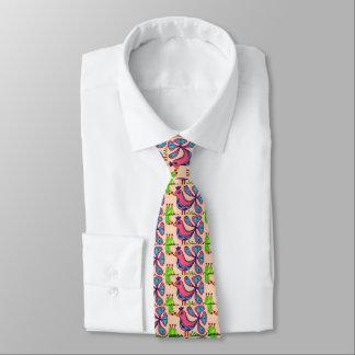 Colorful Whimsical Bold Hand Painted Joy Bird Boho Tie