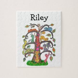 Colorful Whimsical Cute Tree Cats Monogram Name Jigsaw Puzzle