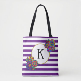 Colorful Whimsical Flowers Purple Striped Monogram Tote Bag