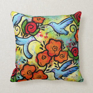 Colorful Whimsical Hummingbird Wildlife Animals Throw Pillow