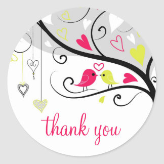 Colorful Whimsical Love Birds Thank You Sticker