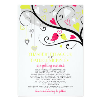 Colorful Whimsical Love Birds Wedding Invitation