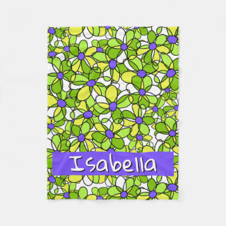 Colorful Whimsical Personalized Floral Pattern Fleece Blanket