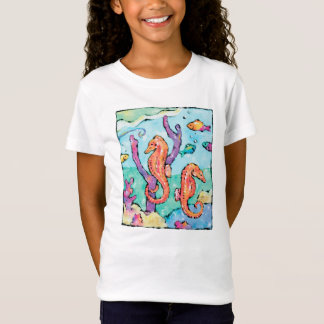 Colorful, whimsical seahorse t-shirt