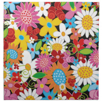 Colorful Whimsical Spring Flowers Garden Napkin