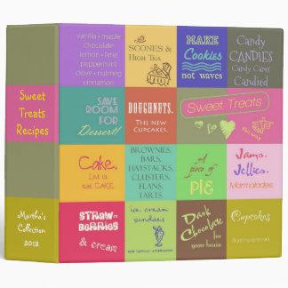 Colorful Whimsical Sweet Dessert Recipe Book Vinyl Binder