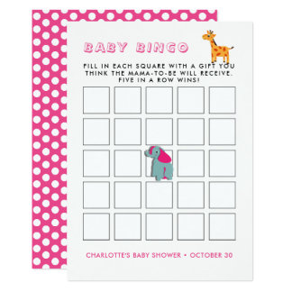 Colorful Whimsy Zoo Animals Baby Shower Bingo Game Card