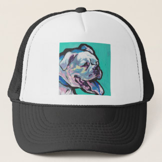 Colorful White Boxer Portrait Fun Pop Art Trucker Hat