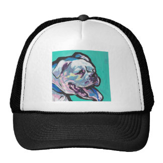 Colorful White Boxer Portrait Fun Pop Art Trucker Hat