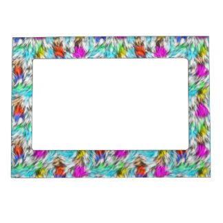 Colorful White Leopard Fur Pattern Magnetic Picture Frame