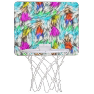Colorful White Leopard Fur Pattern Mini Basketball Hoop