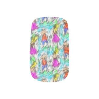 Colorful White Leopard Fur Pattern Minx Nail Art
