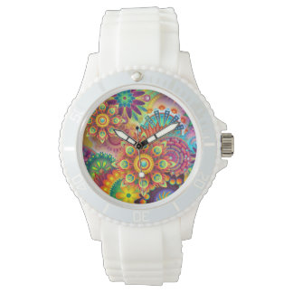 Colorful white sporty watch