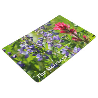 Colorful Wildflowers Personalized Floor Mat