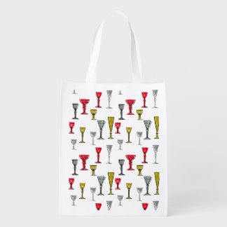 Colorful Wine Glasses Pattern Reusable Grocery Bag