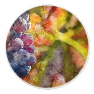 Colorful Wine Grapes on the Vine Ceramic Knob
