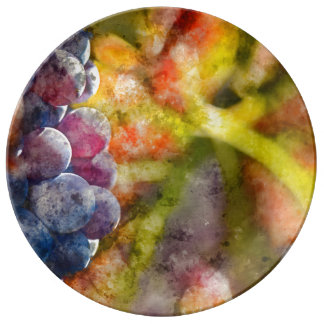 Colorful Wine Grapes on the Vine Plate