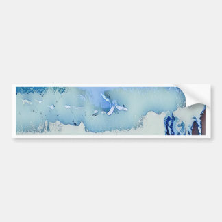Colorful Winter Blue Abstract Horizon Sky Bumper Sticker