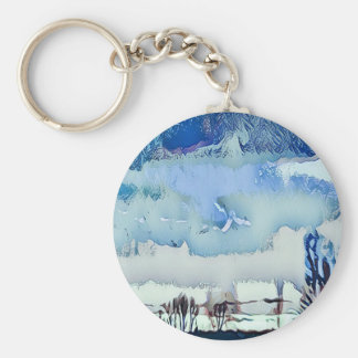 Colorful Winter Blue Abstract Horizon Sky Keychain