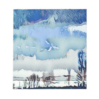 Colorful Winter Blue Abstract Horizon Sky Notepad