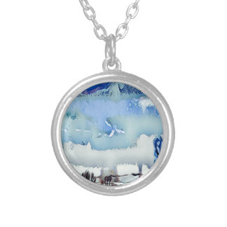Colorful Winter Blue Abstract Horizon Sky Silver Plated Necklace