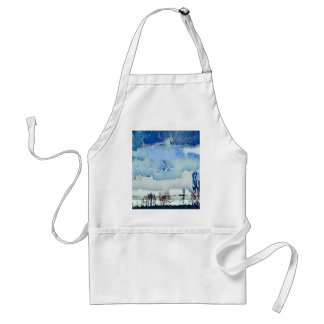 Colorful Winter Blue Abstract Horizon Sky Standard Apron