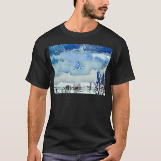 Colorful Winter Blue Abstract Horizon Sky T-Shirt