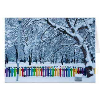 Colorful Winter Fence Card