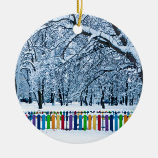 Colorful Winter Fence Round Ceramic Ornament