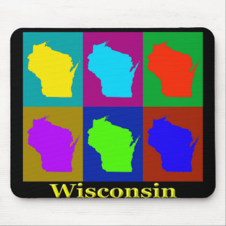 Colorful Wisconsin Pop Art Map Mouse Pad