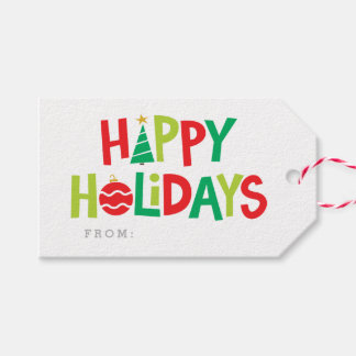 Colorful wishes holiday gift tag