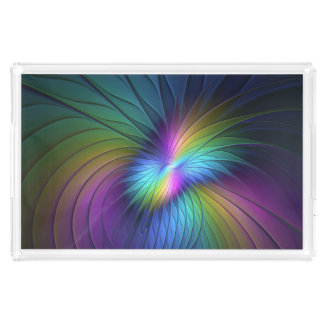 Colorful With Blue Modern Abstract Fractal Art Acrylic Tray