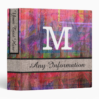 Colorful Wood Monogram Modern Burlap #3 3 Ring Binder
