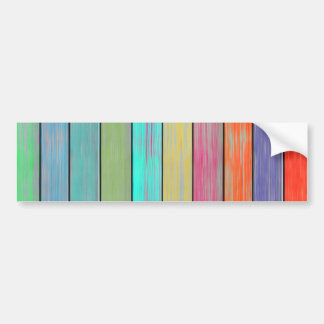 Colorful Wood Planks Bumper Sticker