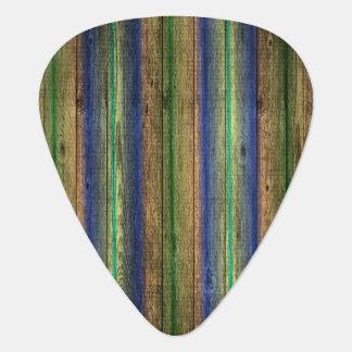 colorful wood wall vintage guitar pick