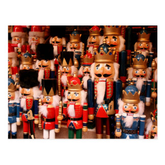 Colorful wooden nutcrackers postcard