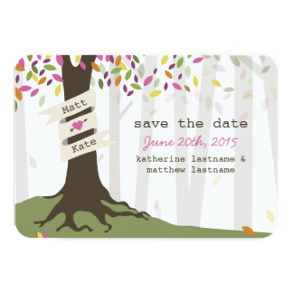 Colorful Woodland Wedding Save The Date Card