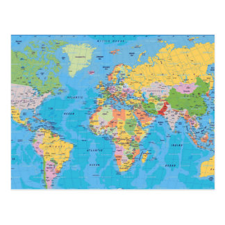 Colorful World Map Postcard