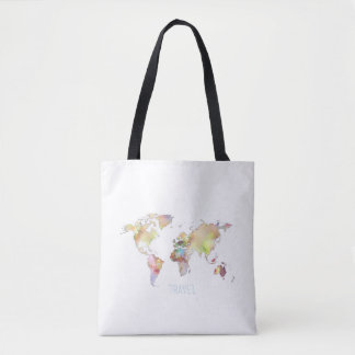 Colorful World Map Travel Tote