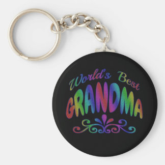 Colorful World's Best Grandma Key Ring