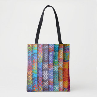 Colorful Woven Textile Tote Bag