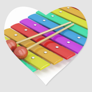 Colorful xylophone heart sticker