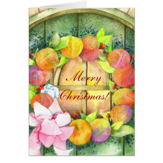 Colorful Yarn Ball Wreath Merry Christmas Card