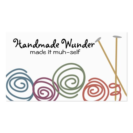 colorful yarn balls knitting needles business c... business cards