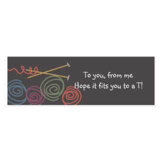 colorful yarn balls knitting needles gift tags mini business card