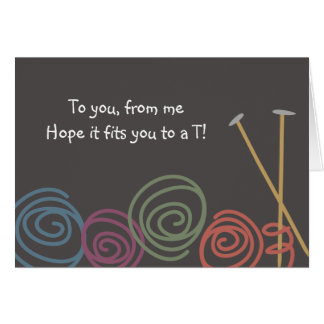 colorful yarn balls knitting needles greeting g... card