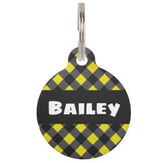 Colorful Yellow and Black Plaid Pet ID Tag. Pet Tag