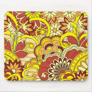 colorful yellow boho pattern mouse pad